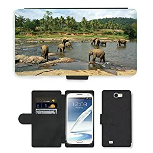Super Stella Cell Phone Card Slot PU Leather Wallet Case // M00145608 Elephants Herd Animals Nature // Samsung Galaxy Note 2 II N7100