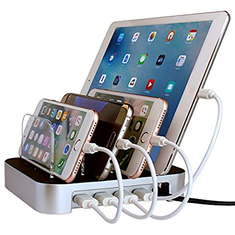 Simicore USB Charging Station Dock & Charging Stand Organizer for Smartphones, Tablets & Other Gadgets – Multiple USB Charger Station & Cell Phone Docking (Iphone 4s Charge Cable Short)