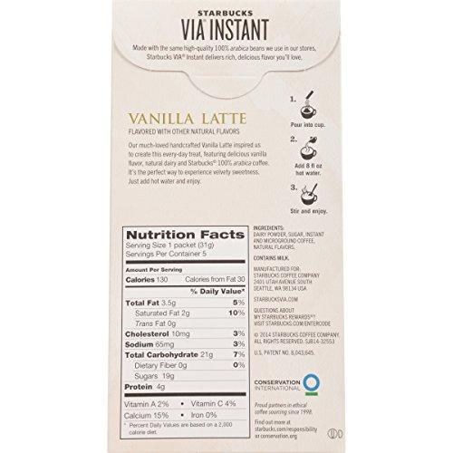 Starbucks VIA Instant Coffee, Vanilla Latte, 30 Count
