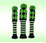 PLAYEAGLE 3 pcs/set Knitting Golf Clubs Headcover Driver Cover(460cc),Fairway Wood Head Covers for Taylormade,Callaway,Titleist and More Brand(Green)