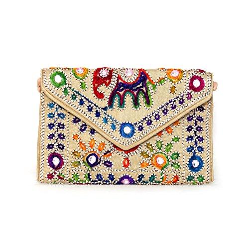 Indian Vintage Rajasthani Potli Bohemian Beige Handmade Tribal Clutch Jaipur handbags Banjara AZIqrIn5x