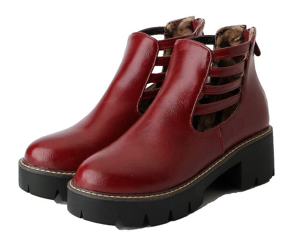 BUSXT119949 AmoonyFashion Womens Solid Kitten-Heels Round-Toe Pu Zipper Boots
