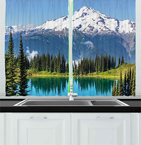 Ambesonne Nature Kitchen Curtains, Idyllic Crystal Lake Surr