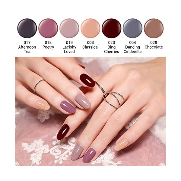 Modelones Gel Nail Polish Set, Red Brown Pink Nud Grey 7 Colors 6 ML Gift Box LED Soak Off Nail Gel Manicure Kit