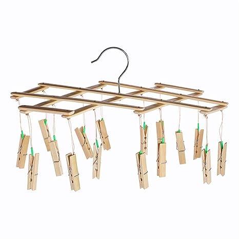 BEIQIHHY Perchero Calcetines Estante Clip de bambú Clip de ...
