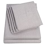 King Size Bed Sheets - 6 Piece 1500 Thread Count Fine Brushed Microfiber Deep Pocket King Sheet Set Bedding - 2 Extra Pillow Cases, Great Value, King, Classic Stripe Gray Larger Image