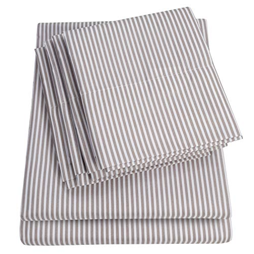 Sweet Home Collection 4 Piece Quality Deep Pocket Bed Sheet Set 2 Extra Pillow Cases, Twin, Classic Stripe Gray,