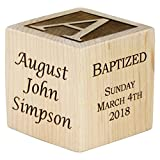 Personalized Baby Baptism Gifts, Baptism Wood Block, Baptism Gifts For Godparents, Baby Boy, Baby Girl, Baby Dedication Gifts, Wood Baby Block, Unique Baptism Gifts (2'')