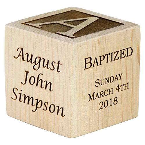 Personalized Baby Baptism Gifts, Baptism Gift for Boy, Girl, Baptism Wood Block, Baby Dedication Gifts, Wood Baby Block, Unique Baptism Gifts (3