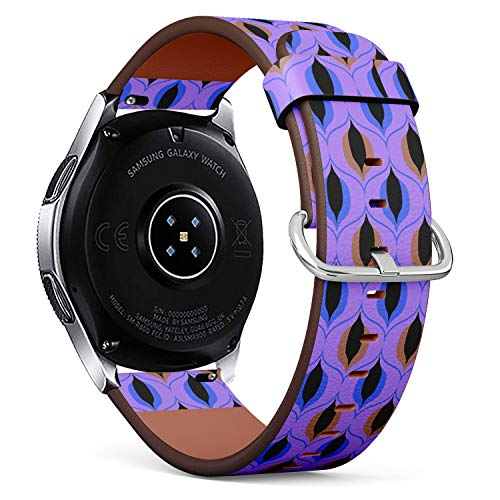 Compatible with Samsung Galaxy Watch (46mm) - Quick-Release Leather Band Bracelet Strap Wristband Replacement - Flower Framing Lilies Text
