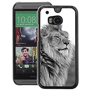 A-type Arte & diseño plástico duro Fundas Cover Cubre Hard Case Cover para HTC One M8 (King Lion Black White Mane Powerful)