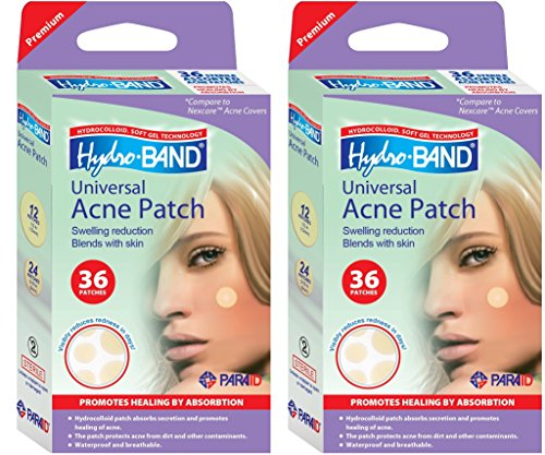 Medicated Acne Package - Value Pack | Acne Patch | Hydrocolloid Patches for Pimples and Acne | Pimple Cover for Faster Healing and Clear Skin | Hydro-Band - 2 Packs of 36