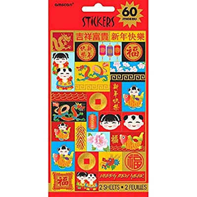 "Amscan Chinese NewYear Stickers, 8"" x 4"", Multicolor, 2 Sheets, 60 Stickers: Kitchen & Dining"