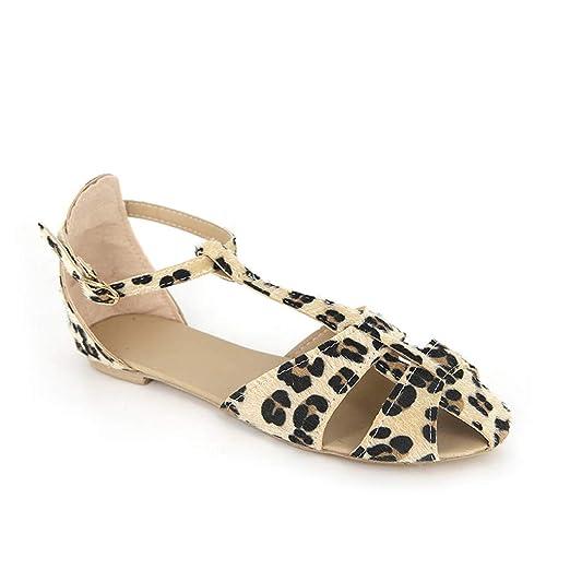 aa3a71c7ae5e3 Amazon.com: Veodhekai Women Flats Shoes Leopard Buckle Strap Roman ...