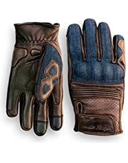 Denim & Leather Motorcycle Gloves (Brown) with Mobile Phone Touchscreen by Indie Ridge