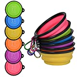 AODA Collapsible Pet Bowl 6pcs, Food Grade Silicone,Perfect Foldable Travel Bowls for Pets Dog&Cat Food Bowls Water Feeding