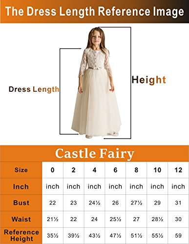 aab035aa0 Castle Fairy Girls' First Communion Organza Sequin Pearls Flower Girl Dress  with Train Red Size