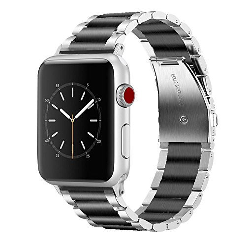 for Apple Watch Bands 42mm Men, VIGOSS Solid Stainless Steel Apple Watch Band Metal Edition Strap Business Replacement Bracelet for iWatch Series 3/2/1 Sport Large Small (Silver/Black, 42mm) by VIGOSS