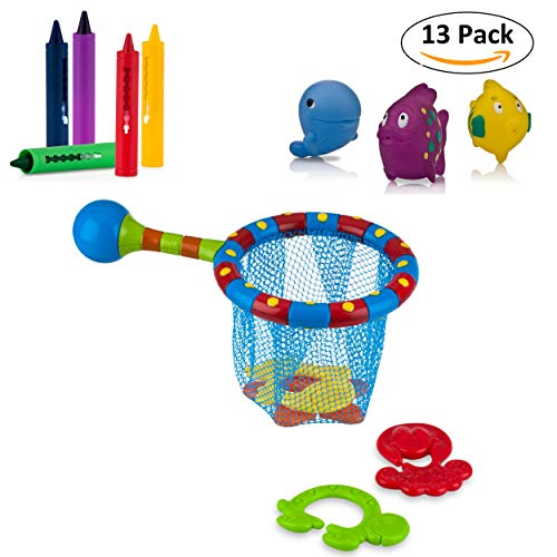 Baby Bath Toys Set with Fish Net, Bath Tub Crayons & Fish Squirters - BPA Free from Nuby Products