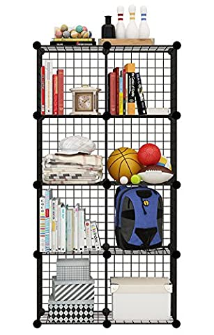 KOUSI Wire Cube Storage Metal Shelving Unit Bookcase DIY Closet Organization System, 8 Grids Black - 3 Shelf Stacking Bookcase