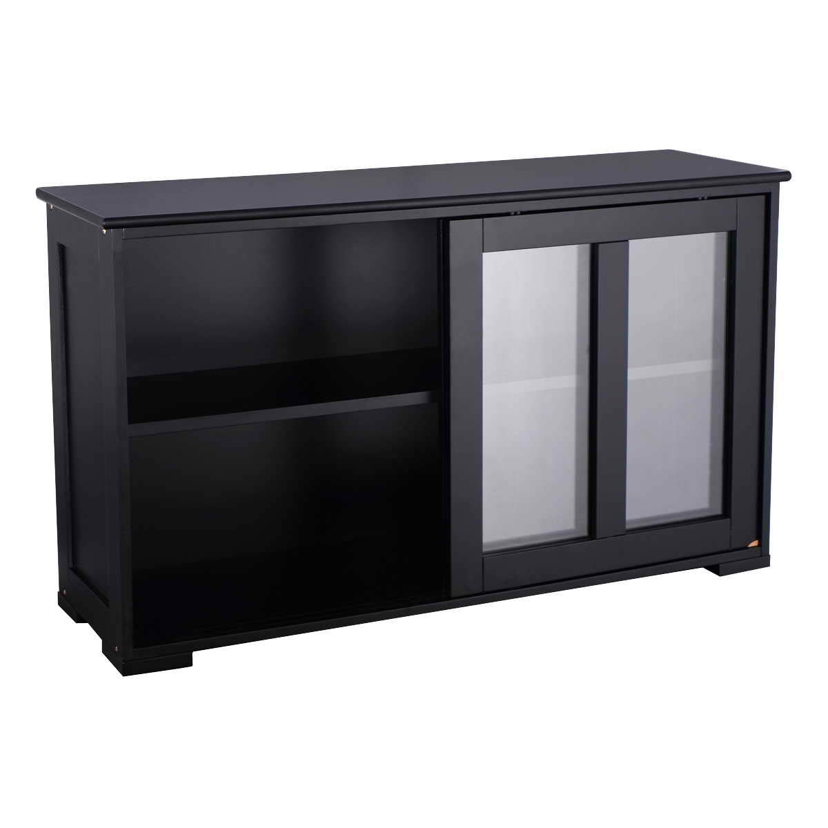 WATERJOY Kitchen Storage Sideboard, Stackable Buffet Storage Cabinet with Sliding Door Tempered-Glass Panels for Home Kitchen, Antique Black by WATERJOY (Image #5)