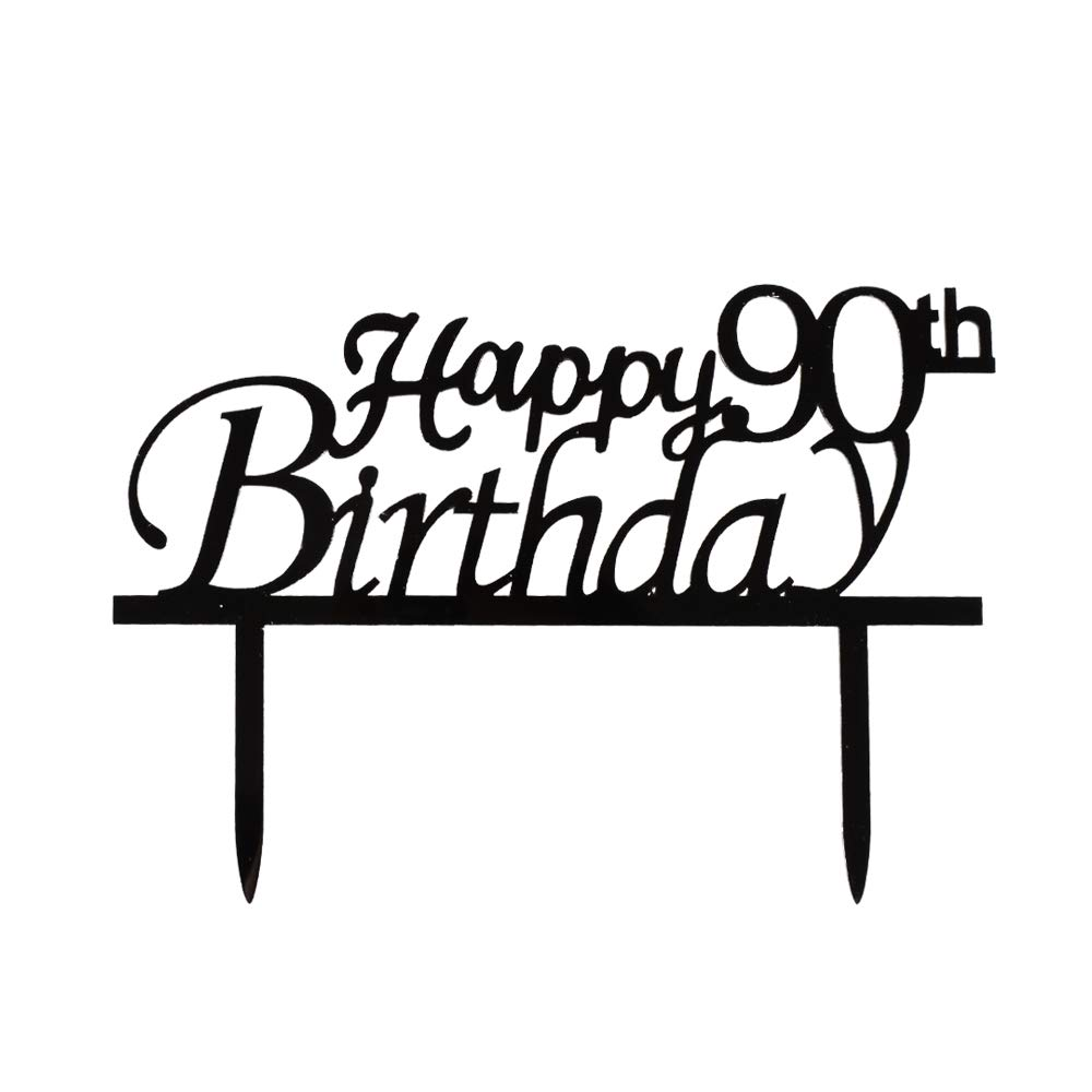 Happy 90th Birthday Cake Topper Black Acrylic Party Decorations