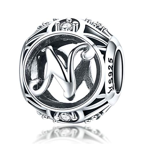 (BAMOER 925 Sterling Silver Initial Letter N Charms for Bracelet Necklace Alphabet Beads)
