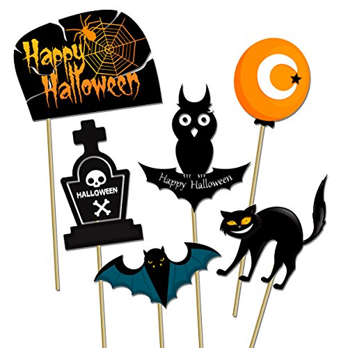 53pcs Happy Halloween Photo Booth Props Witch Hat Pumpkin Bat