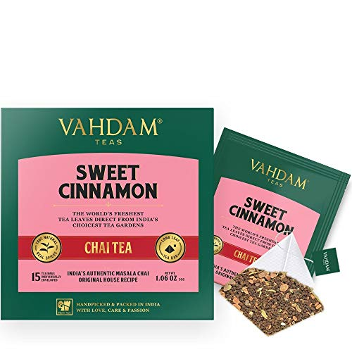 VAHDAM, Hot Cinnamon Tea 30 Tea Bags Set of 2 100 Natural Spices Ancient Cinnamon Masala Chai Tea Recipe Spiced Chai Tea Bag Brew as Hot Tea or Iced Tea Chai Tea Bag