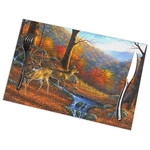 Affany Placemats for Dining Table, Heat Insulation Stain Resistant Table Mat Set of 6 Non Slip Washable Tray Mat Durable Place Mats for Kitchen Dining Room Table Decoration - Forests Deer ()