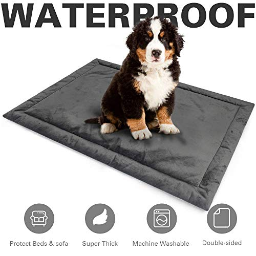 Allisandro Water-Proof Dog Bed Mat Crate Pad | Durable Pet Beds Soft Dog Mattress | Anti-Slip Kennel Pads for Dogs & Cats Washable, Grey L:39.3x27.5