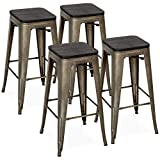 Best Choice Products Set of 4 30in Distressed Industrial Stackable Backless Steel Bar Stools w/Wood Seats, Rubber Cap Feet - Bronze