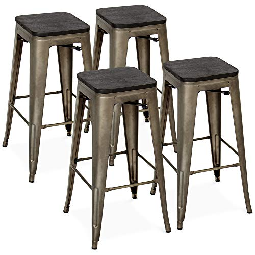 (Best Choice Products Set of 4 30in Distressed Industrial Stackable Backless Steel Bar Stools w/Wood Seats, Rubber Cap Feet - Bronze)