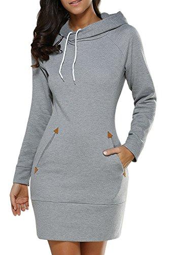 Femme Automne Occasionnels Longue Sweat Zojuyozio Sweat Shirts Robe La Manche Solides Lgrey 7x5WO