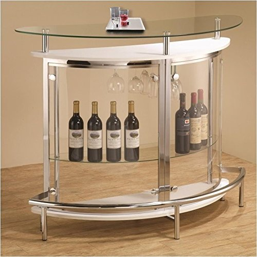 Coaster Contemporary Tempered Glass White Bar - Home Furniture Bar