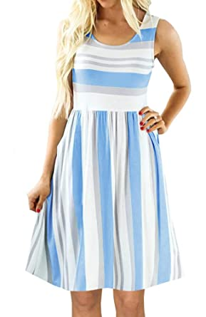 01754ea45df0 PAPOSON Women Striped Midi Dresses with Pockets Summer Sleeveless Swing  Casual T-Shirt Dress (