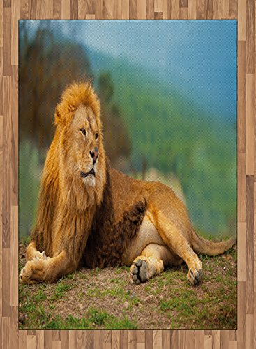 Africa Area Rug by Lunarable, A Lion Lying and Resting on the Top of the Mountain Digital Print, Flat Woven Accent Rug for Living Room Bedroom Dining Room, 5.2 x 7.5 FT, Pale Coffee and Fern Green by Lunarable