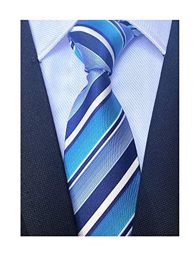 (Navy Blue Cyan White Silk Ties For Men Unique Chic Stripe Fitness Skinny Necktie)