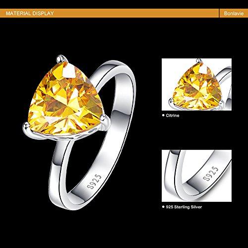 BONLAVIE Women's Fine Sterling Silver Jewelry Created Yellow Citrine Simple Engagement Ring Size 9 by BONLAVIE (Image #4)