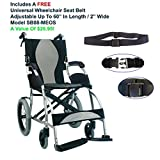 """Karman S-2501F18SS-TP - Ergo Lite 18"""" Seat Width, Ultra Lightweight Ergonomic Transport Wheelchair Model S-2501, Pearl Silver,Fixed Wheel, Fixed Armrests, Fixed Footrests & FREE Wheelchair Seat Belt!"""