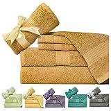 Weavely 600 GSM 6-Piece Cotton Bath Towel Set, Gold Tan