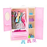 Barwa 11.5 Inch Doll Fashionistas Closet 35 Pcs Doll Clothes for Barbie Doll with 5 Sets Fashion Dress and 30 Pcs Accessoires Shoes Hanges Handbags Xmas Gift