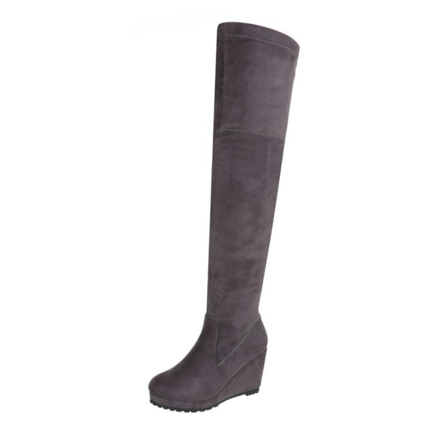 Cingant Woman Overknee Damen Overknee Woman Stiefel/Leichte Plateausohle/Damenschuh/Stiefel/Keilabsatz/Grau - 7ed86a