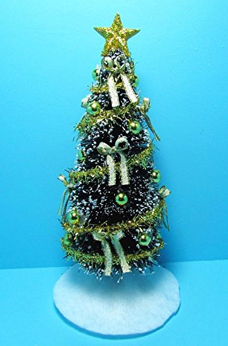 dollhouse miniature fully decorated christmas tree with gold decor scg my mini fairy garden dollhouse - Fully Decorated Christmas Tree
