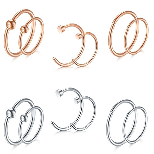 D.Bella Nose Septum Piercing Jewelry 14pcs 18G 8mm 10mm PA Captive Bead Rings Clip On Nose Septum Ring Studs