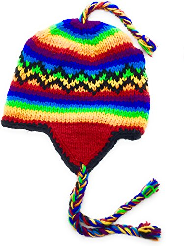 Hand Knit Winter Rainbow Striped Ear Flap Hat Warm Wool Fleece Lined (Hat Striped Flap)