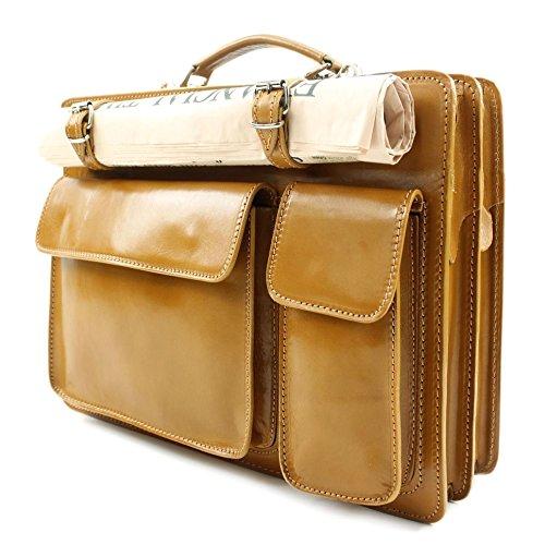 italienische Aktentasche | Aktenkoffer | Leder | Tasche | Echt Leder | Glattleder | Business | Farbe: Cognac | NL01C