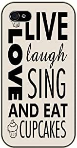 Live, love, laugh, sing and eat cupcakes - Bible verse iPhone 4/ 4s black plastic case / Christian Verses