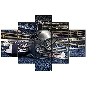 Dallas Cowboys Canvas Wall Art Super Bowl Paintings 5 Pcs Artwork Sports in AT&T Stadium Arlington Artwok Home Decor for Living Room Framed Stretched Ready to Hang Posters and Prints(60''Wx40''H)
