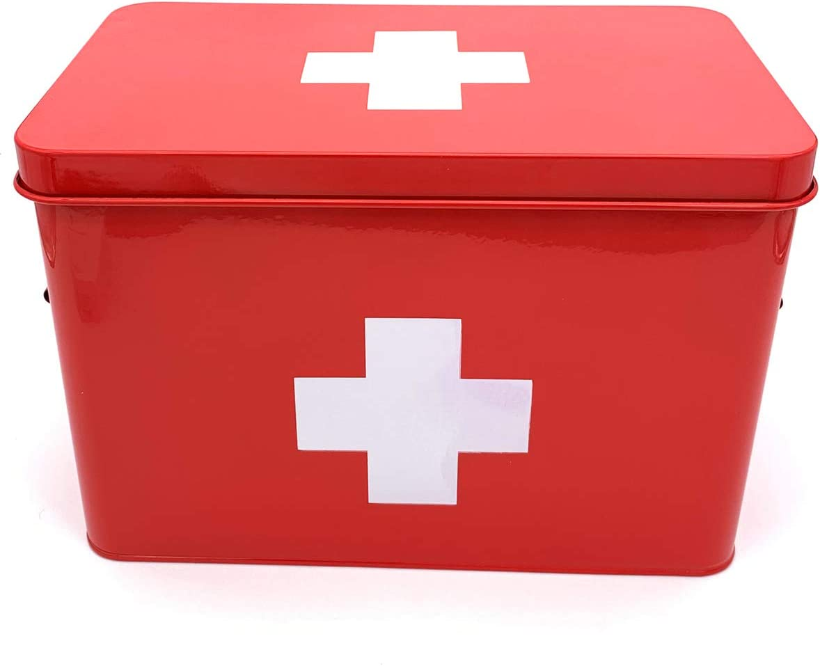 First Aid Medicine Storage Box with Removable Tray and Strong Handles, Red Vintage Retro Style with White Cross - Also Great for Home Decor and Keepsake Storage Needs - Large Tin